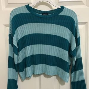 Blue Striped Cropped Sweater